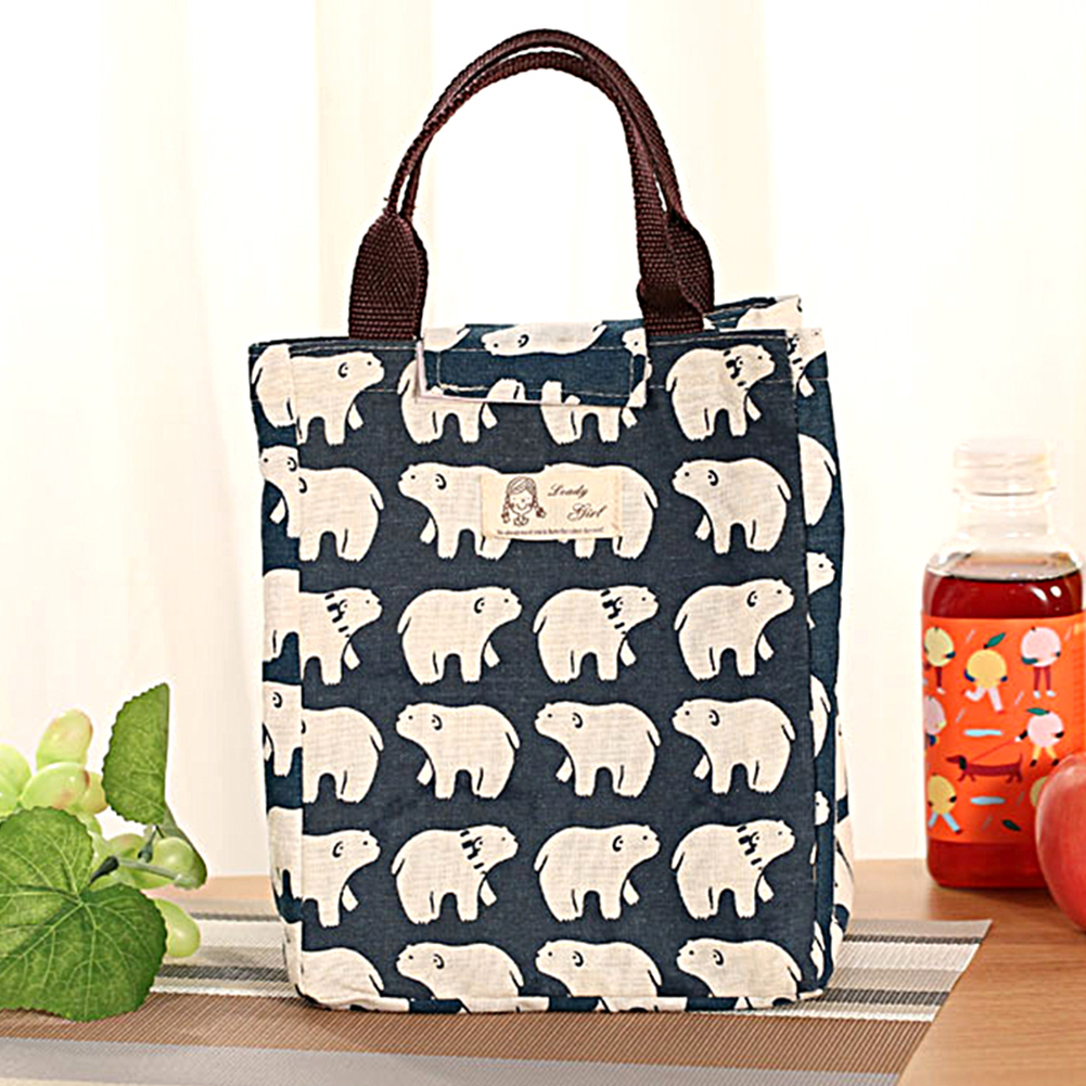 Kids Women Canvas Large Insulated Thermal Lunch Box Bento
