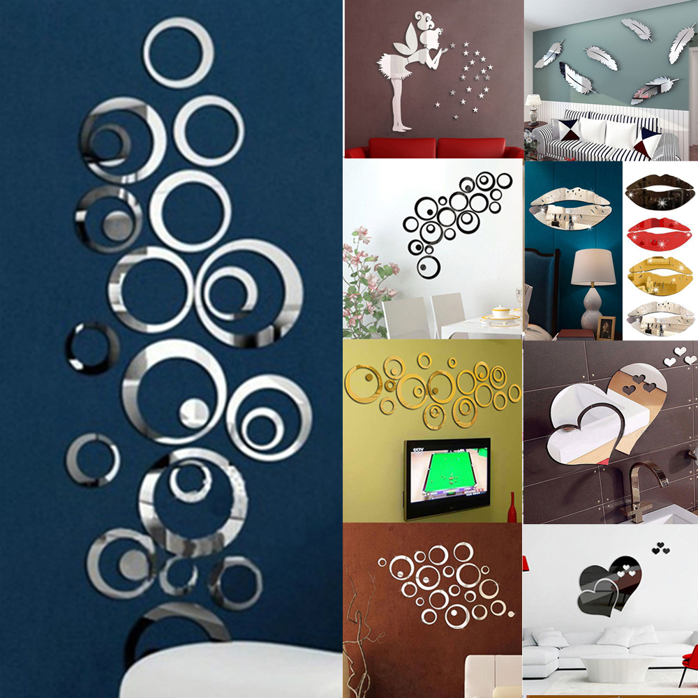 Home Decoration - 3D Mirror Effect Wall Sticker Decal Home Living Room Art Mural Decor Removable